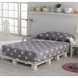 Edredon ajustable para cama nido, abatible, litera NUIT estrellas en gris