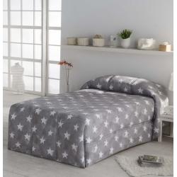 Edredon conforter con estrellas NUIT tejido de algodon colo gris