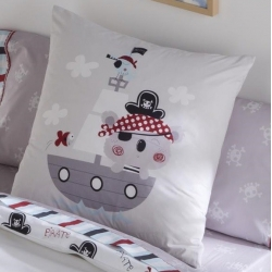 Funda de almohada PIRATE dibujo de barco con relleno disponible