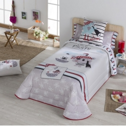 Cubierta boutí para cama de niño PIRATE 100 por 100 algodón