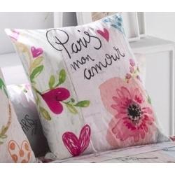 Funda para almohada juvenil COOKIE PARIS con flores y corazones