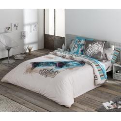 Funda con relleno nórdico para cama de chicos STREET monopatín azul