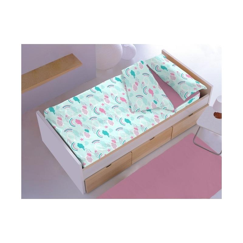 Saco nórdico con cremallera IRIS para cama Ikea de 70x160 cm color turquesa y rosa