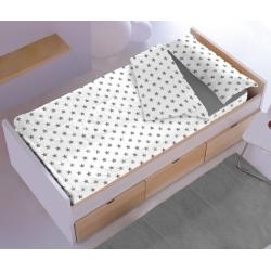 Saco nórdico con cremallera ESTRELLITAS en color gris para cama 70, 90 o 105