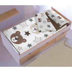 Saco nordico infantil OSITO con osos y estrellas con bajera en color chocolate