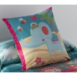 Funda de cojín decorativo cama infantil THAI dibujo elefante hindú