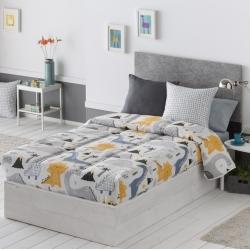 Edredón ajustable cama nido, abatible o litera DINOS dinosaurios gris, amarillo y azul