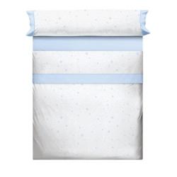 Sabanas blancas para cama con estrellas KALO en color azul, rosa, gris o beige