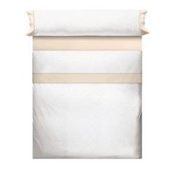 Juego de sábanas blancas MOLE con topos beige, gris, rosa o azul