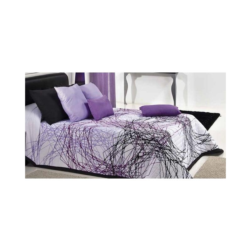 Colcha juvenil boutí TYNA con espirales violetas