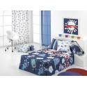 Edredón infantil azul MONSTERS para cama de niños