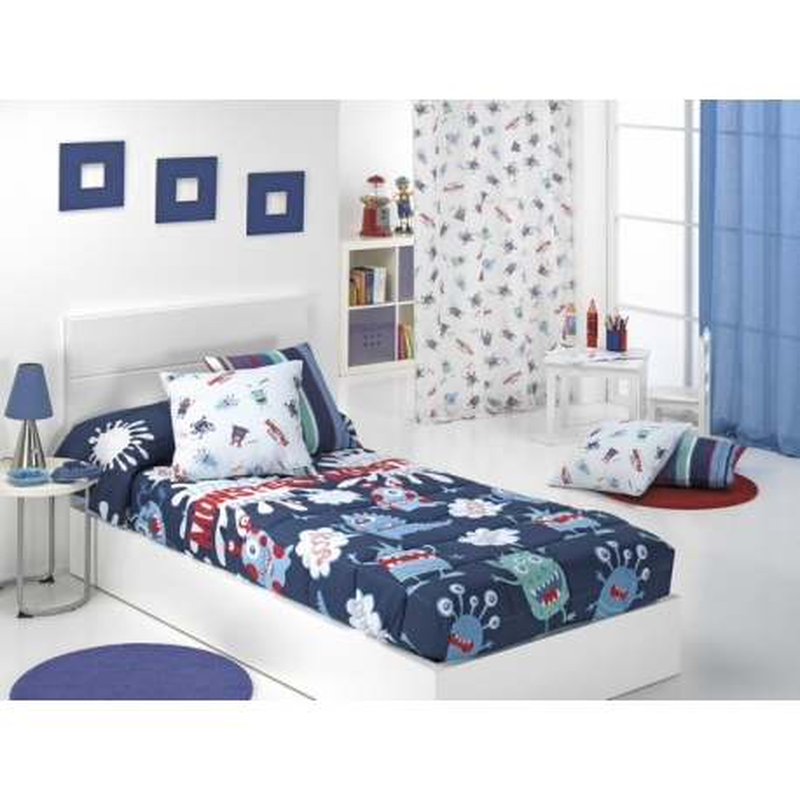 Edredón ajustable para cama 80, 90 o 105 MONSTERS color azul