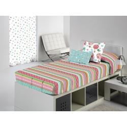 Edredón ajustable de rayas GLOBE para cama de 80, 90 y 105 cm