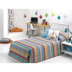 Edredón nórdico conforter CIRCUS modelo de rayas azules, rojas y naranjas