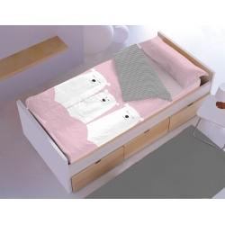 Saco nórdico de cama algodón 100 OSO color turquesa o rosa