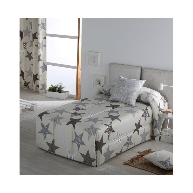 Edredon para cama juvenil infantil confort ESTRELLAS color gris