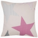 Cojin decorativo de cama con relleno ESTRELLAS color rosa