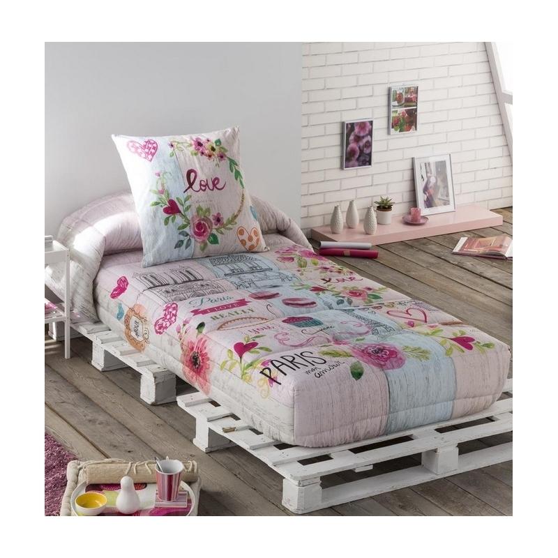 Edredon ajustable para habitacion de chica COOKIE rosa ancho de 80 hasta 180 cm