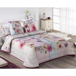 Colcha cubrecama elegante COOKIE corazones y flores rosa con estilo femenino