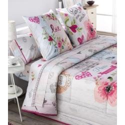 Triptico sabanas de algodon COOKIE con corazones rosa