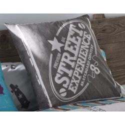 Funda de almohada con diseño juvenil STREET en color gris