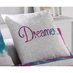 Funda para cojin decorativo de cama DREAMER sobre fondo claro