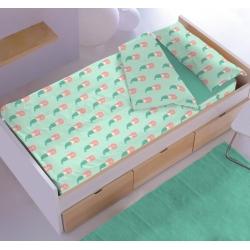 Saco nordico con cremallera para cama de niña 90 o 105 cm SIRENITAS turquesa y rosa