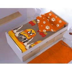 Saco nórdico infantil TOMMY con dibujo divertido de perrito naranja