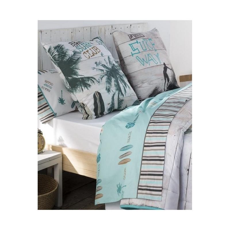 Tríptico de sábanas para cama doble o individual SURF color azul turquesa