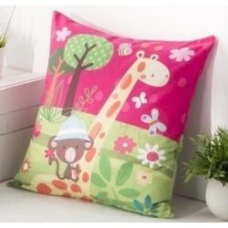 Funda decorativa para almohadón infantil THAI dibujo jirafa naranja
