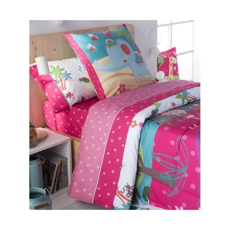 Sábanas de algodon para cama de niños THAI estampado lunares fucsia