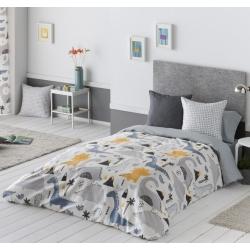 Funda nórdica para cama de niños DINOS dinosaurios gris, azul y amarillo
