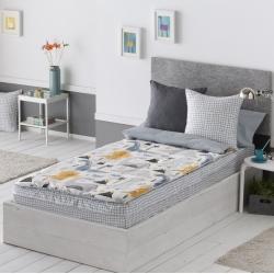 Saco nórdico para cama 90x190 cm DINOS dinosaurios azul, gris y amarillo
