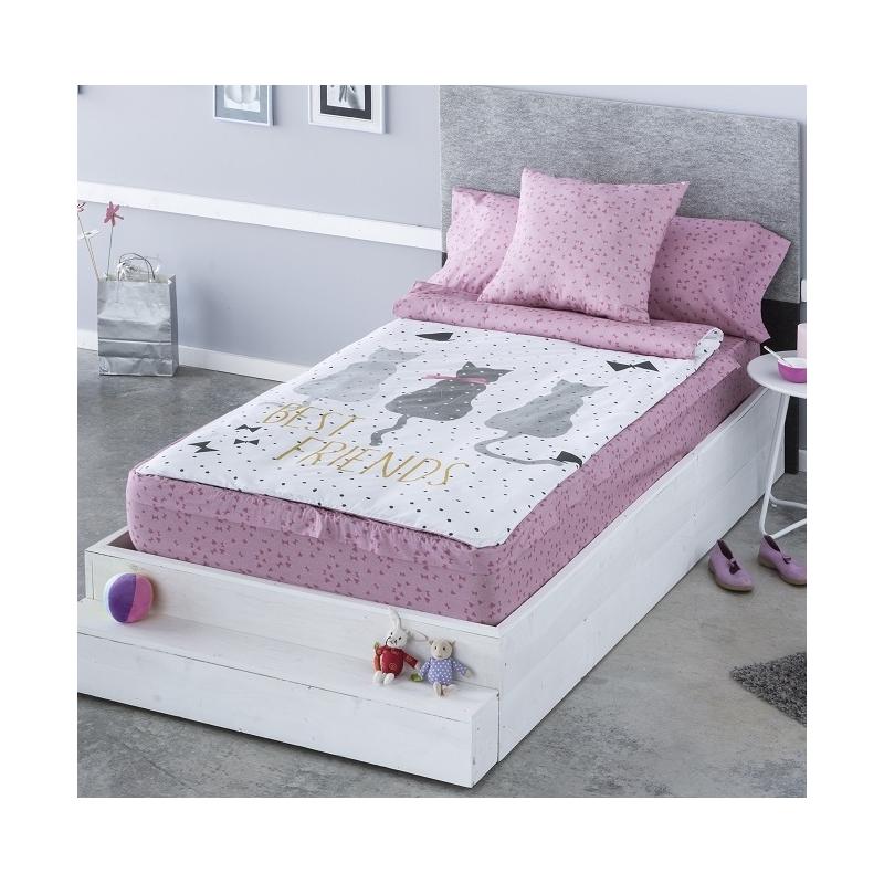 Saco nórdico con cremallera y bajera rosa CAT gatos para cama de 90 cm