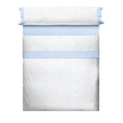 Sabanas blancas para cama con estrellas KALO en color beige