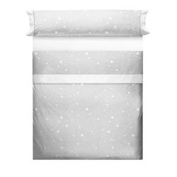 Juego de sábanas gris, rosa, beige o azul para cama KALO con estrellas blancas