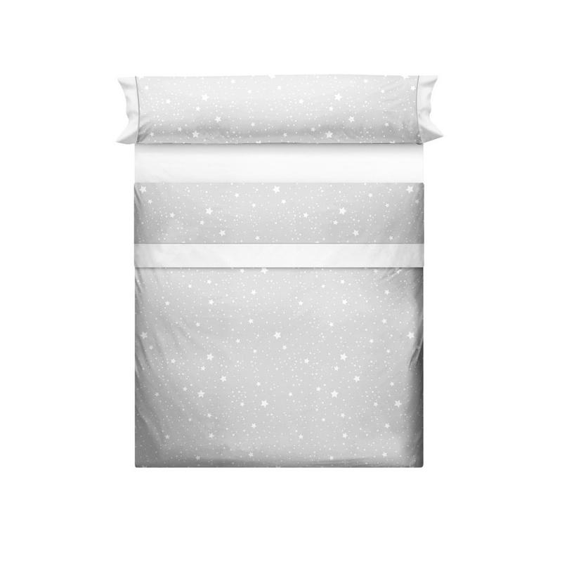 Juego de sábanas gris para cama KALO con estrellas blancas