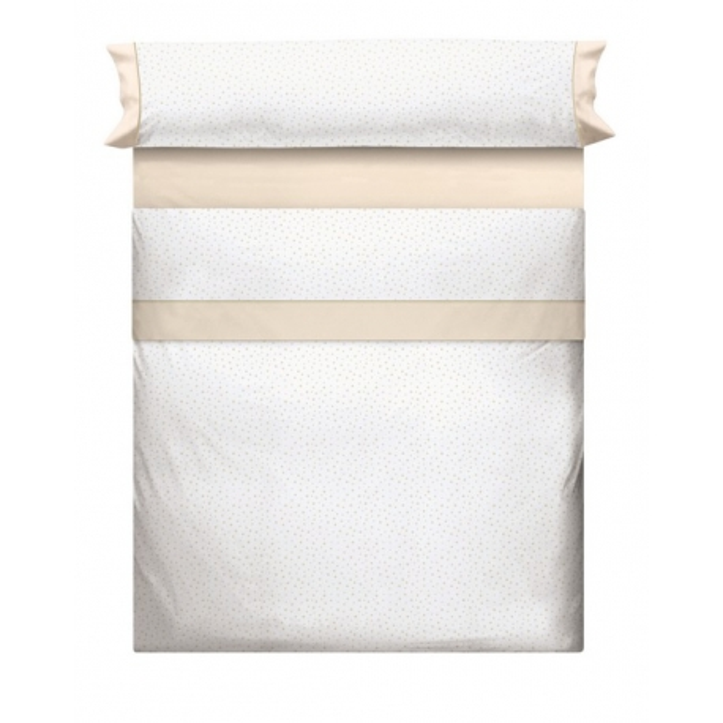 Juego de sábanas blancas MOLE con topos beige