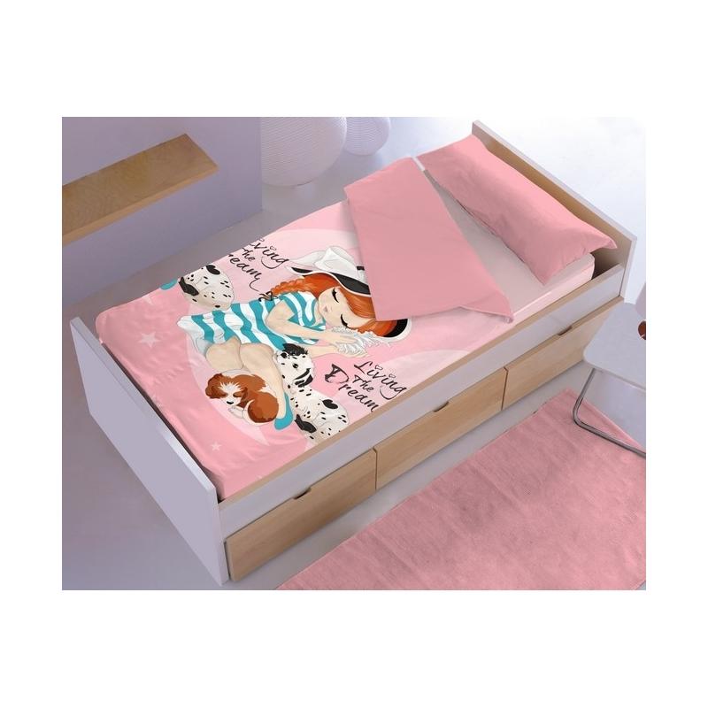 Saco nordico ajustable para cama de niña MELISA con 101 dalmatas
