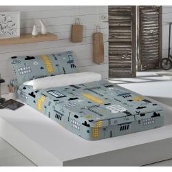 Saco nórdico infantil color gris CITY para cama 90x200 y 90x190 cm