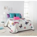 Colcha de verano con dibujo de mariposas LAURE cama 90, 105, 135 o 150