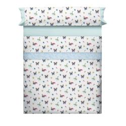 Juego sábanas con mariposas y flores LAURE azul para cama individual o doble