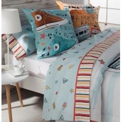 Sábanas juveniles color azul para cama MUSIC con estrellas y rayos