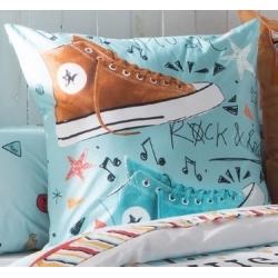 Cojín juvenil decorativo cuadrado MUSIC azul con zapatillas Converse
