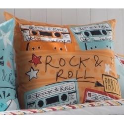Funda de almohada cuadrada para cama juvenil MUSIC color naranja