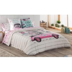 Funda nórdica juvenil CANDY chica en coche rosa con corazones y perritos