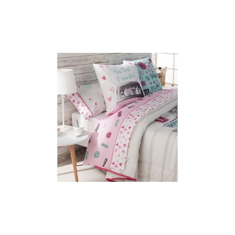 Sábanas de algodón con corazones color rosa CANDY para cama 180 a 80 cm