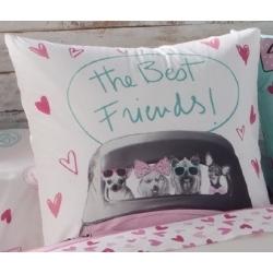 Funda para almohada de cama CANDY corazones y perritos en coche