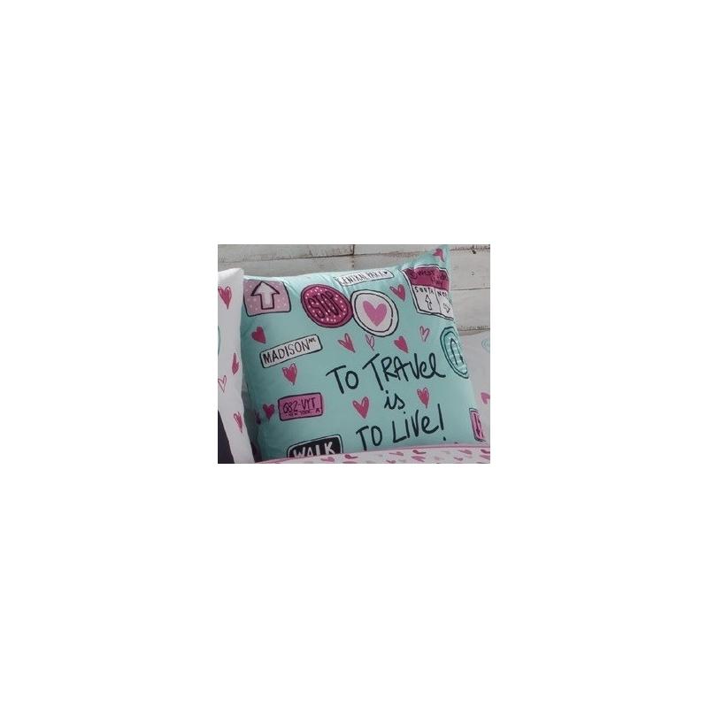Cojín para cama de chica CANDY en color turquesa