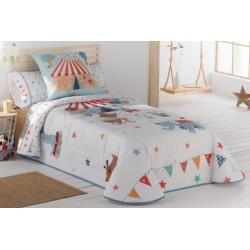 Colcha infantil de algodon para cama de niños CIRCUS con relleno bouti